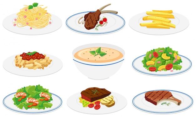 Ensemble de plats sains Vecteur gratuit