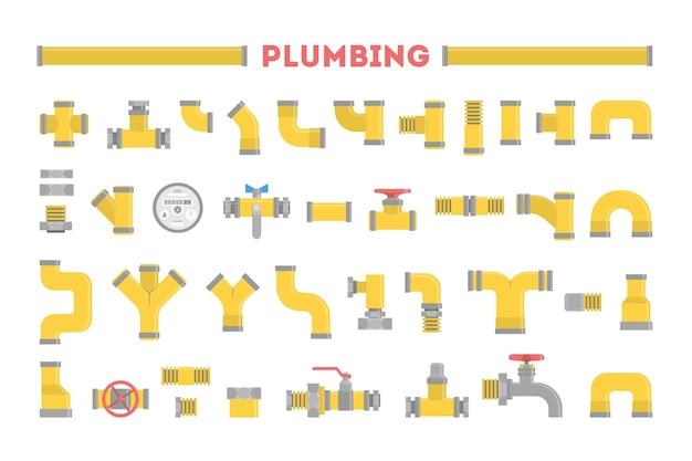 Ensemble De Plombier, Collection De Tuyaux. Industrie De La Plomberie. élément De Pipeline Jaune, Technologie Industrielle. Illustration Avec Style Vecteur Premium