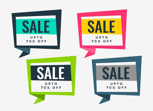 Ensemble de plusieurs bannières de vente de couleurs Vecteur gratuit