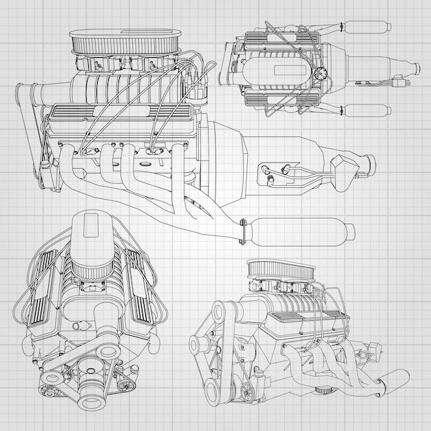 Un ensemble de plusieurs types de moteur de voiture puissant. le moteur est dessiné avec des lignes noires sur une feuille blanche dans une cage Vecteur Premium