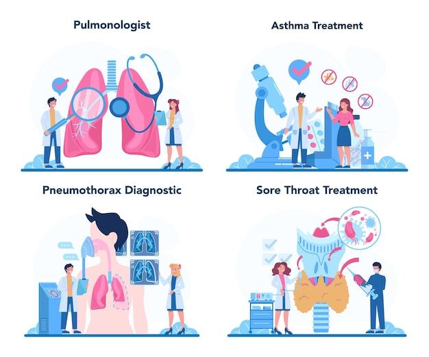 Ensemble De Pneumologue. Idée De Santé Et Traitement Médical. Vecteur Premium