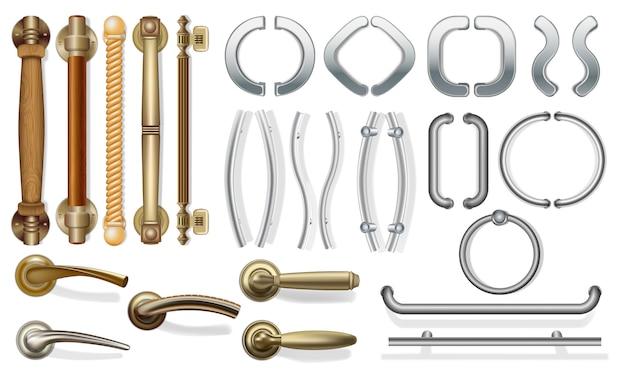 Un ensemble de poignées de porte pour portes de types différents. Vecteur Premium