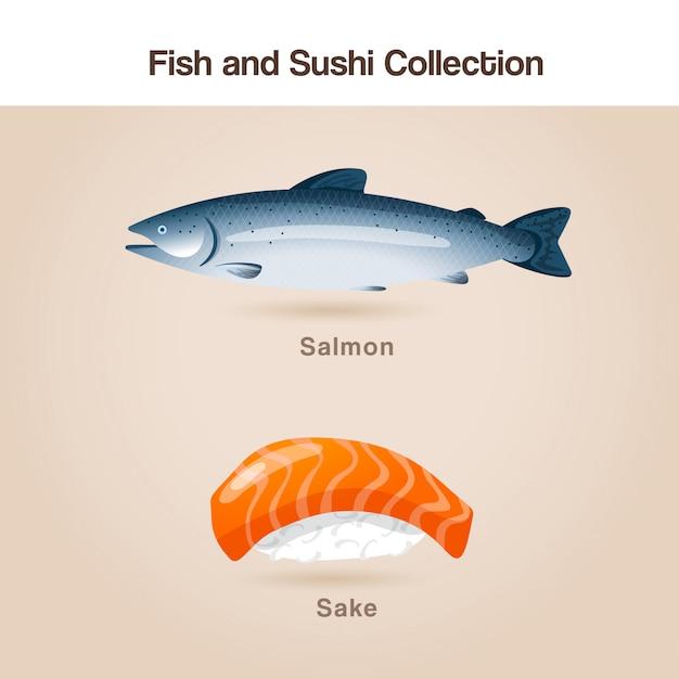 Ensemble Poisson Et Sushi Vecteur Premium