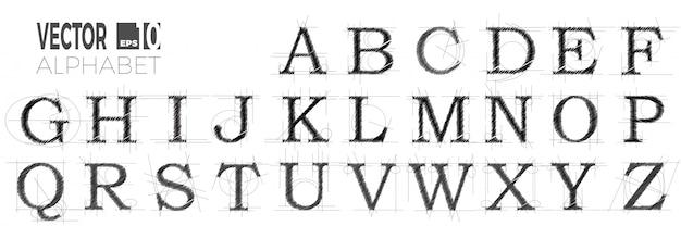 Ensemble De Polices Et Alphabet, Lettres Abstraites Modernes Faites Avec Un Stylo. Vecteur Premium