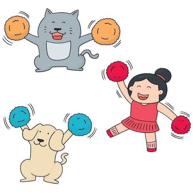 Ensemble de pom-pom girl, chien et chat Vecteur Premium