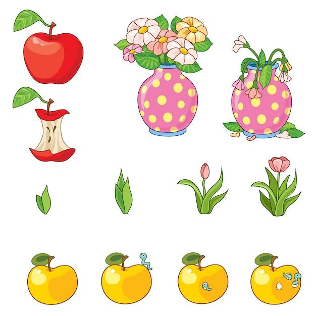 Ensemble De Pommes Et De Fleurs. Vecteur Premium