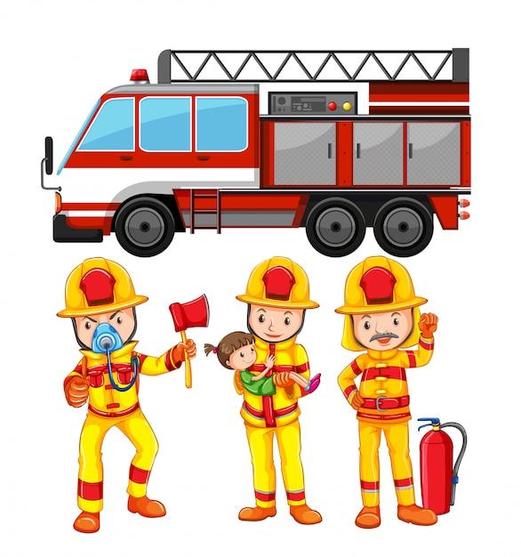 Ensemble de pompier et camion Vecteur gratuit