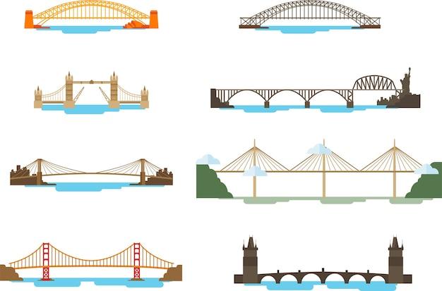 Ensemble De Pont Au-dessus De La Mer Vecteur Premium