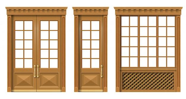 Ensemble De Portes Et Fenêtres En Bois Classiques Vecteur Premium