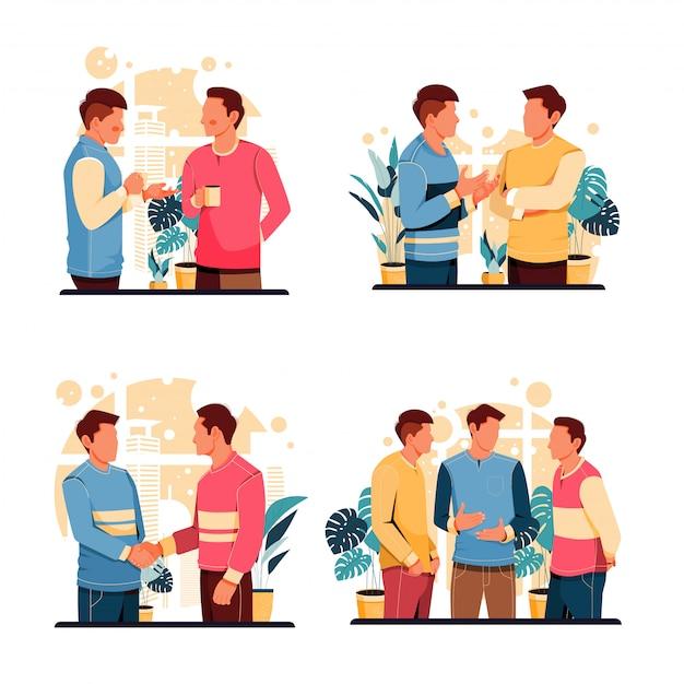 Ensemble De Portrait De L'activité Des Hommes Qui Parlent. Concept De Design Plat. Illustration Vecteur Premium