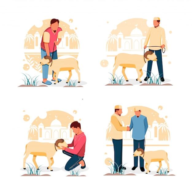 Ensemble De Portrait D'homme Avec Chèvre. Pour Le Concept De Design Plat Eid Al-adha. Illustration Vecteur Premium