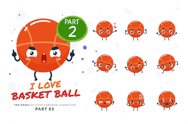Ensemble De Poses De Dessin Animé De Basket-ball. Vecteur Premium