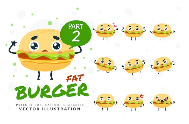 Ensemble De Poses De Dessin Animé De Burger. Vecteur Premium