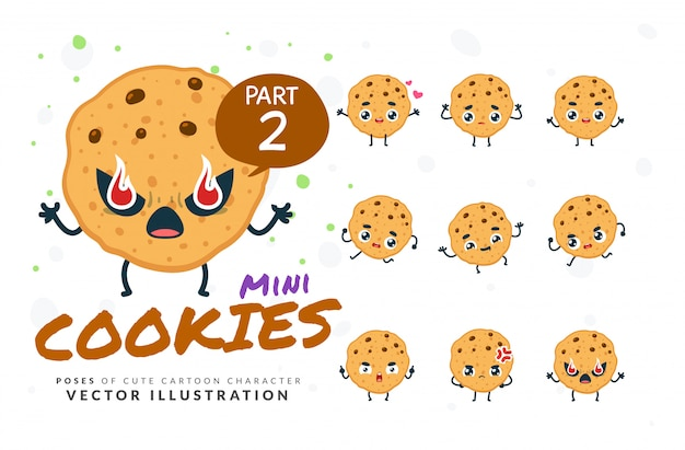 Ensemble De Poses De Dessin Animé De Cookies. Vecteur Premium