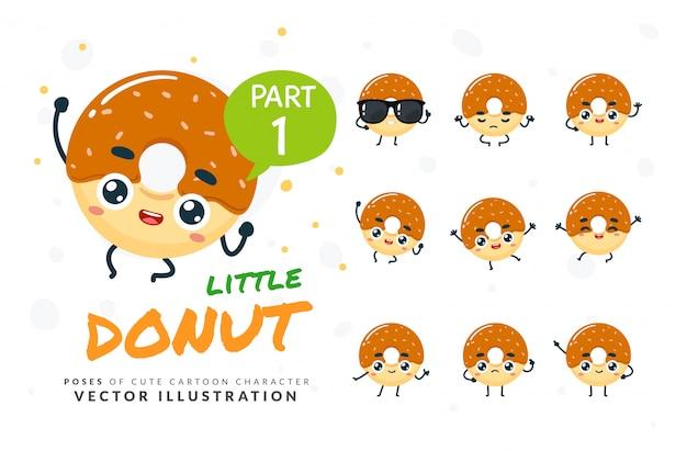 Ensemble De Poses De Dessin Animé De Donut. Vecteur Premium