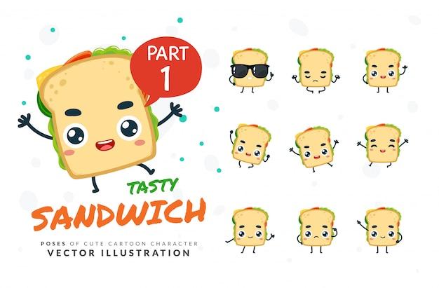 Ensemble De Poses De Dessin Animé De Sandwich. Vecteur Premium