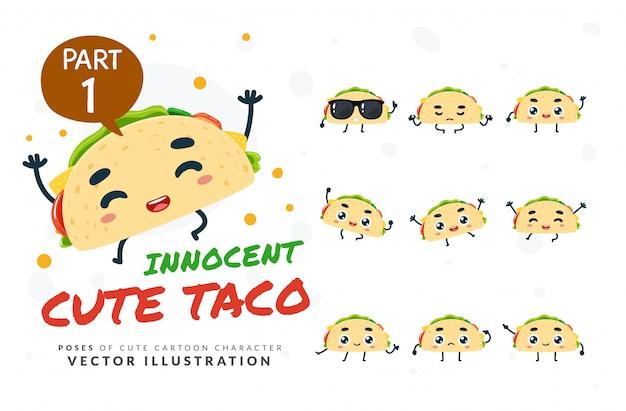 Ensemble De Poses De Dessin Animé De Taco. Vecteur Premium