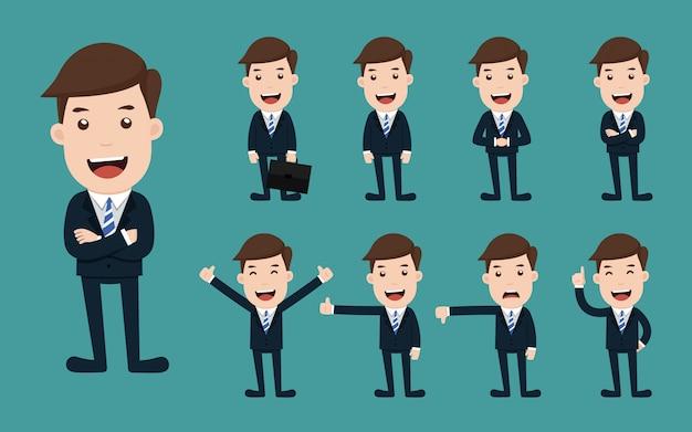 Ensemble de poses différentes de caractère homme d'affaires. Vecteur Premium