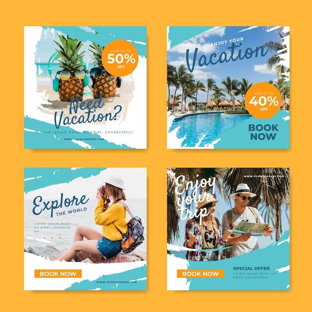 Ensemble De Post Instagram De Vente De Voyage Vecteur Premium