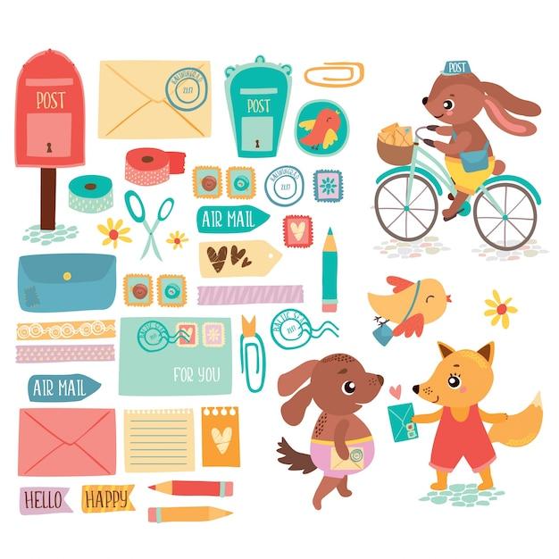 Ensemble postal Vecteur gratuit