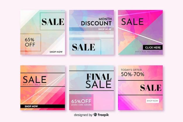 Ensemble de poste instagram coloré de vente abstraite Vecteur gratuit