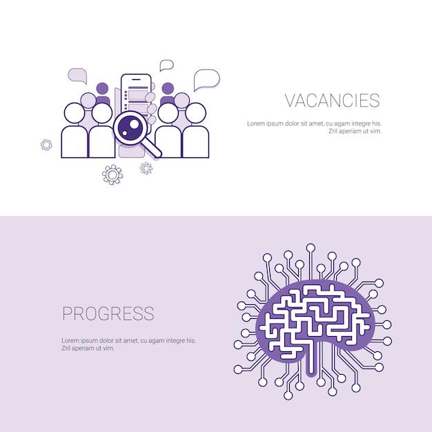 Ensemble de postes vacants et fond bannières de progrès business concept modèle avec espace de copie Vecteur Premium