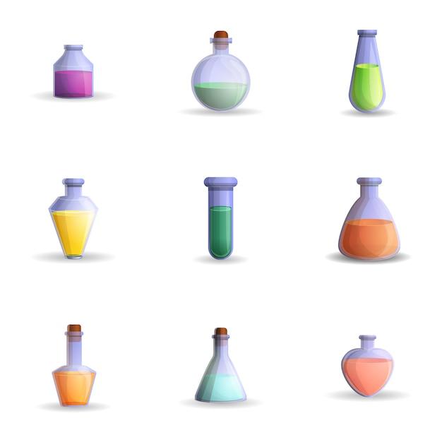 Ensemble de potions, style cartoon Vecteur Premium