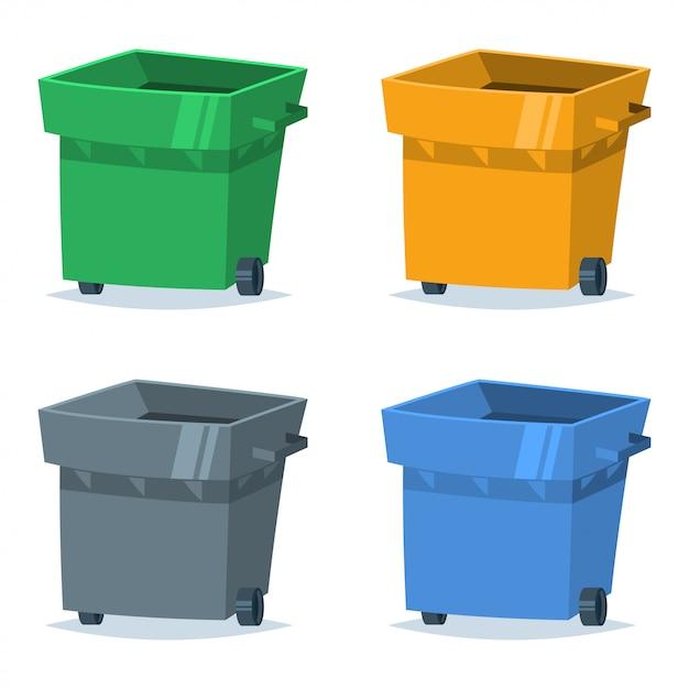Ensemble Poubelle De Couleur Bleue, Verte, Jaune Et Grise. Illustration Vectorielle Du Tri Et Du Recyclage Des Déchets Et Des Déchets Organiques, De Plastique, De Papier Et De Verre. Vecteur Premium