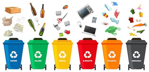 Ensemble de poubelle différente Vecteur Premium