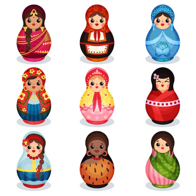 Ensemble De Poupées Gigognes, Matriochka En Bois Dans Des Costumes Colorés De Différents Pays Illustration Sur Fond Blanc Vecteur Premium