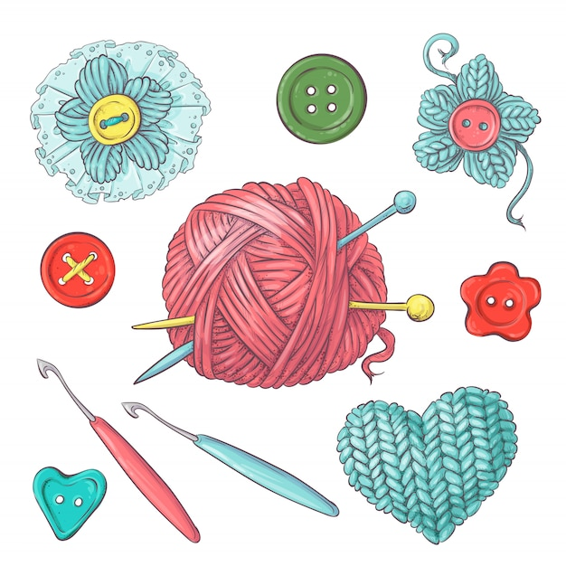 Ensemble Pour Faire à La Main Pour Le Crochet Et Le Tricot. Vecteur Premium