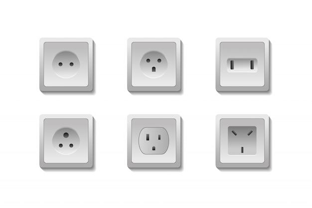 Ensemble De Prises électriques Réalistes Européennes Et Américaines Sur Fond Blanc. Vecteur Premium