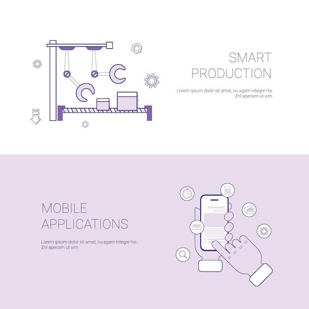 Ensemble de production intelligente et application mobile bannières arrière-plan du modèle business concept avec espace de copie Vecteur Premium
