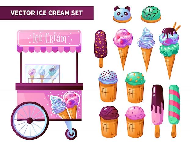 Ensemble De Produits Pour Chariot à Crème Glacée Vecteur gratuit