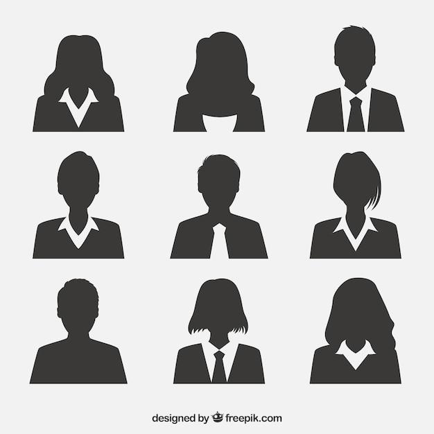 Ensemble professionnel d'avatars de silhouette Vecteur gratuit