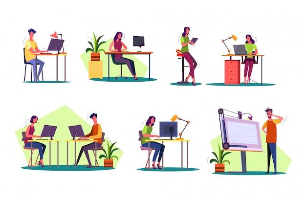 Ensemble professionnel sur les lieux de travail Vecteur gratuit