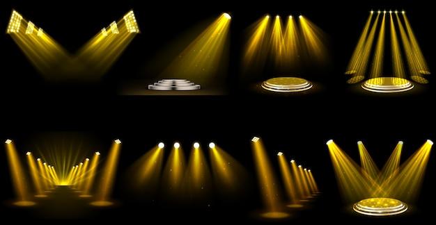 Ensemble de projecteurs à effet de lumière Vecteur Premium