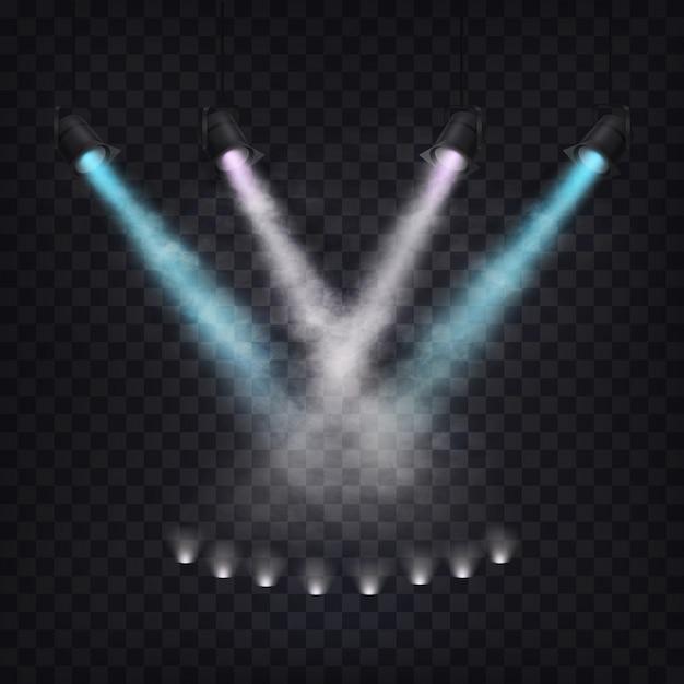 Ensemble de projecteurs panoramiques vectoriels dans le brouillard Vecteur gratuit