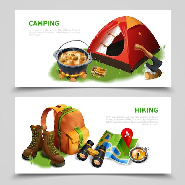 Ensemble De Prospectus Réalistes De Camping Vecteur gratuit
