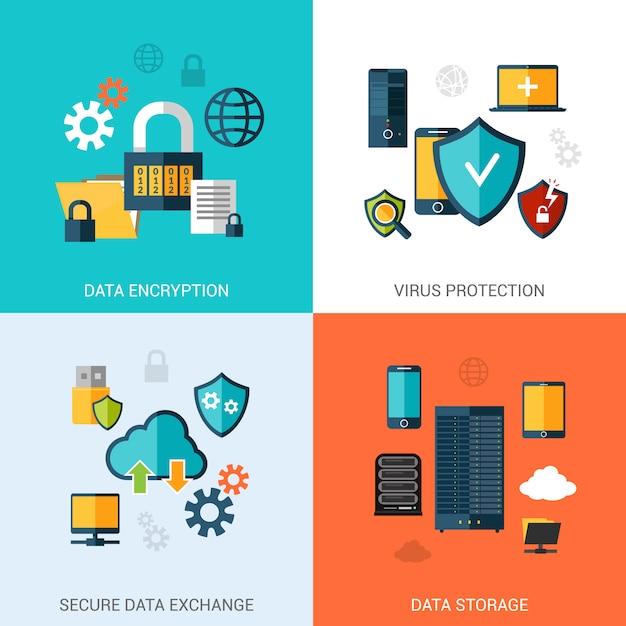 Ensemble de protection des données Vecteur gratuit