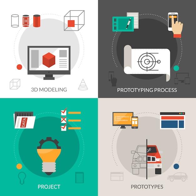 Ensemble de prototypage et de modélisation Vecteur gratuit