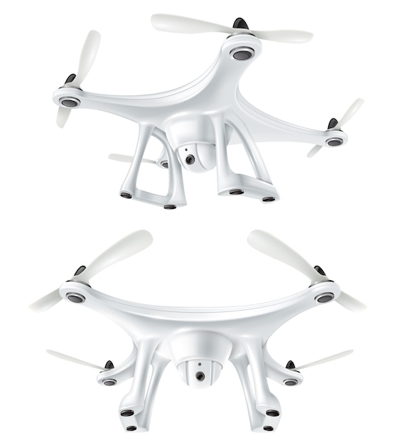 Ensemble de quadricoptères à drones réalistes Vecteur gratuit
