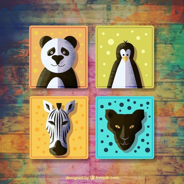 Ensemble de quatre badges avec des animaux à l'aquarelle Vecteur gratuit