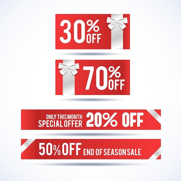Ensemble De Quatre Bannières Horizontales De Réduction De Noël Avec Des Informations Sur L'offre Spéciale Uniquement Ce Mois-ci Vecteur gratuit