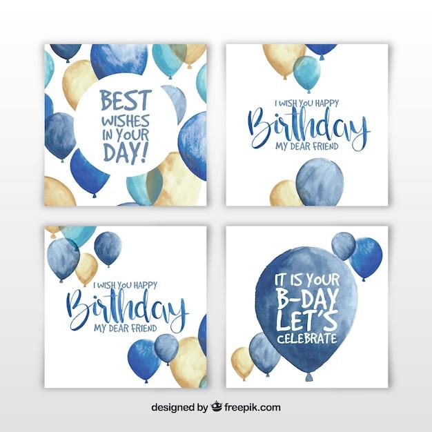 Ensemble de quatre cartes d'anniversaire aquarelles avec des ballons Vecteur gratuit