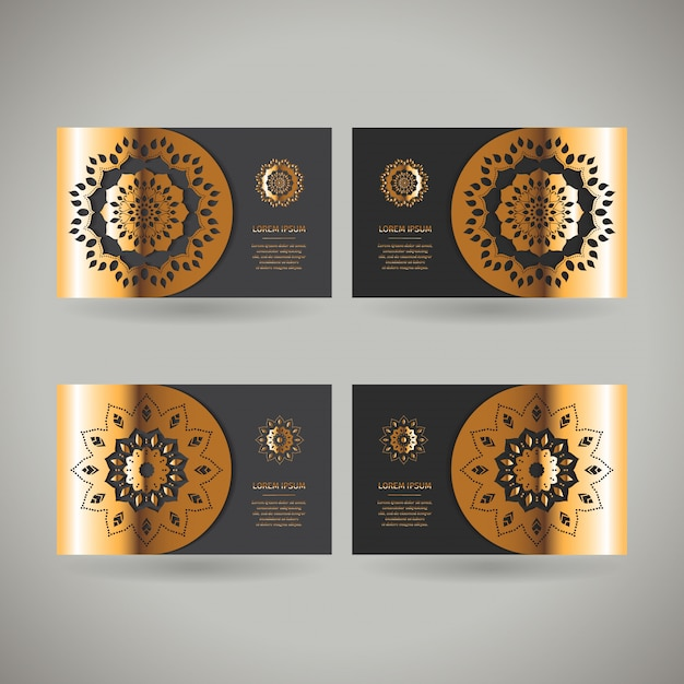 Ensemble De Quatre Cartes Or Ornementales Avec Mandala Oriental Fleur Vecteur Premium