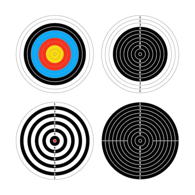 Ensemble de quatre cibles différentes pour la pratique du tir sur blanc Vecteur Premium
