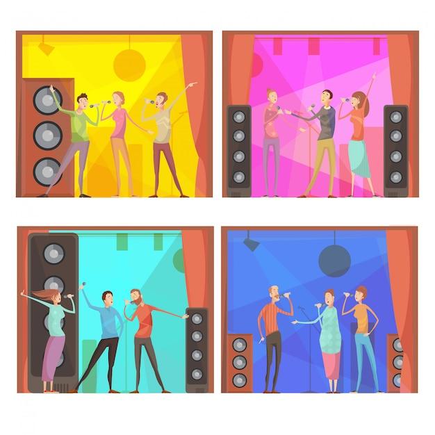 Ensemble de quatre compositions de fête karaoké à plat avec un groupe de personnages chantant des amis dans un club Vecteur gratuit