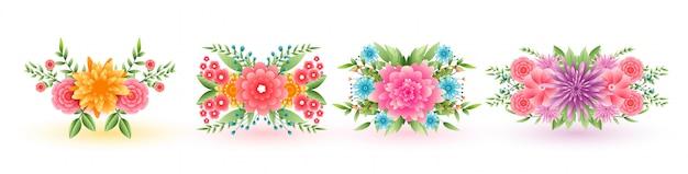 Ensemble De Quatre Fleurs Décoratives Vecteur gratuit