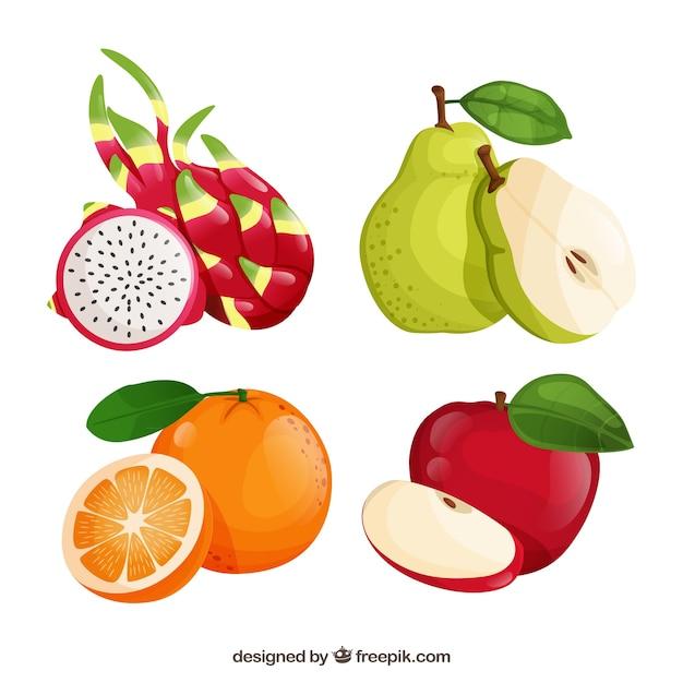 Ensemble De Quatre Fruits Réalistes Vecteur gratuit